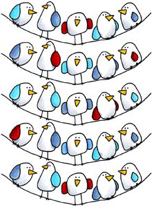"""The Flock"" - whimsical birds  organic shapes and water colour"