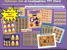 Halloween Resources: Target vocabulary, artic, phonological processes, pragmatics; FREE Downloads, too!