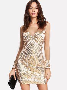 Women Sequin Dress Long Sheer Sleeves Luxury Zip Back Bodycon Party Dress - TD Mercado Bodycon Outfits, Bodycon Dress Parties, Sexy Outfits, Nye Outfits, Gold Lace Dresses, Long Sequin Dress, Dress Long, Sheer Dress, Pink Sequin