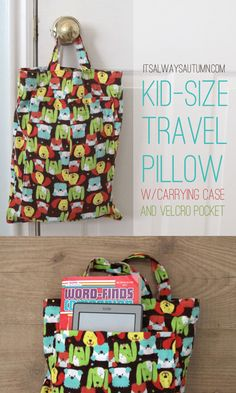 KID TRAVEL PILLOW & CASE | click through for an easy #sewing #tutorial that teaches you to make your own kid sized travel pillows plus a handy carrying case with front velcro pocket.