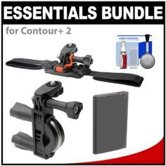 Essentials Bundle for Sony Action Cam & Camcorders with Handlebar Bike & Vented Helmet Mounts + Battery + Cleaning Kit Camera Store, Bike Handlebars, Cleaning Kit, Camcorder, Contour 2, Sony, Helmet, Essentials, Action