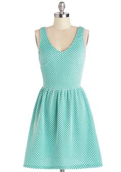 Refreshment to Be Dress. Slip into this teal dotted dress and feel cool, calm, and blissfully collected! #mint #modcloth