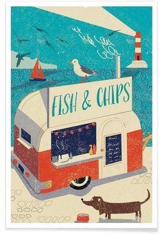 Fish and Chips als Premium Poster