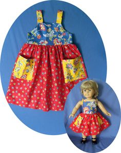 MATCHING Clothes for American Girl Doll DRESS Girl's 6 Doll 18 in American Girl Country French print dress fits Gotz Madame Alexander. $46.00, via Etsy.
