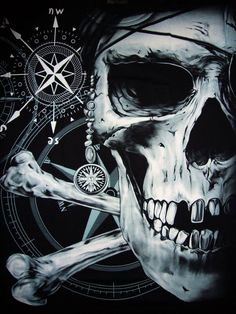 Ye best keep yer compass on true North, or ye be visitin' Davy Jones Locker. Pirate Art, Pirate Skull, Pirate Life, Pirate Theme, Pirate Ships, Davy Jones' Locker, Drawn Art, Black Sails, Jolly Roger