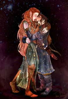I know this is not in the book and before i saw the movie i was kinda against Tauriel at first but then i saw her character and i completely LOVED her. And i LOVE the whole Kili/Tauriel love bubble thing. Kiliel by Dralamy on deviantART. Legolas, Kili And Tauriel, Thranduil, Hobbit Art, O Hobbit, The Hobbit Movies, The Last Movie, Fantasy Couples, Elfa