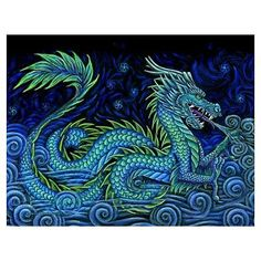 Chinese Azure Dragon Wall Tapestry by Rebecca Wang Art - Small: x Chinese, Dragon Wall, Poster Prints, Chinese Dragon, Water Dragon, Art, Acrylic Wall Art, Chinese Art, Imagine Dragons