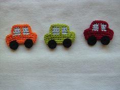 Häkelapplikationen - Kleines Auto (3er Set) - ein Designerstück von Borretschbluete bei DaWanda