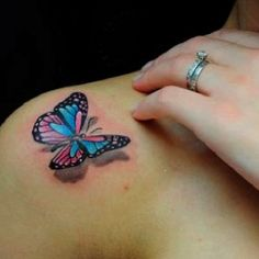 3D butterfly tattoo in birthstone colors for my babies