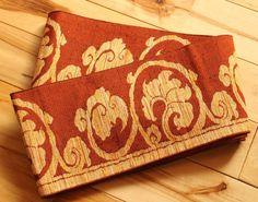 Hanhaba Obi, Free Shipping, Vintage Japanese Silk Half Width Obi, Orange Yellow Black, Reversible, For Casual Kimono Wear & Interior Design by KominkaFabricsJapan on Etsy