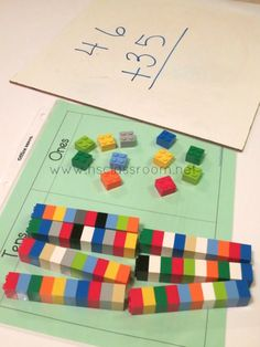 Use your Lego bricks as a hands-on way to teach kids how to add and subtract double digit numbers with remainders.