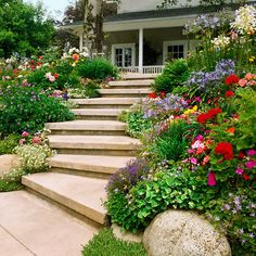Steps convert a slope from inaccessible to inviting. Wide steps that meander or zigzag up a steep slope are easier to climb than those that escalate rapidly.  Test Garden Tip: Begin building at the base of your slope if you're not sure where to add your s (outdoor flower planters curb appeal)