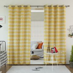 These fun doodle print curtain panels will add an interesting touch of style to your home's decor.