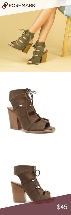 """✨COMING SOON✨NWT. Khaki booty lace ups ✨COMING SOON✨ NWT. Khaki booty lace ups. This shoe features a suede leatherette upper, peep toe, caged silhouette with lace up closure though sleek cut outs, stitching detail finished with lightly padded insole set on a chunkly stacked heel. Heel Height: 3 1/2"""". Platform: 1/4"""". LIKE THIS LISTING TO BE NOTIFIED WHEN IT CONES IN STOCK. Shoes Lace Up Boots"""