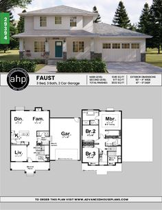 2 Story Prairie House Plan | Faust Two Story House Design, Two Story House Plans, New House Plans, Dream House Plans, House Floor Plans, Prairie House, Prairie Style Houses, House Plans Mansion, Craftsman House Plans