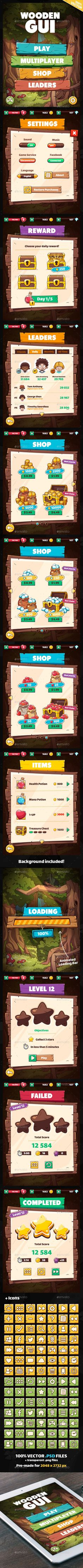 Wooden GUI for Mobile Game — Photoshop PSD #window #ui • Download ➝ https://graphicriver.net/item/wooden-gui-for-mobile-game/20009639?ref=pxcr