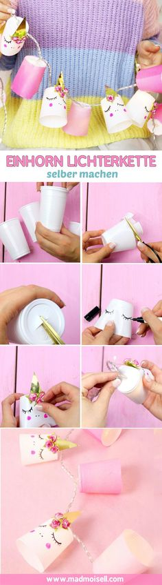 DIY unicorn fairy lights made from cups? – Make creative decoration yourself - Easy Idea Diy Unicorn, Unicorn Crafts, Happy Unicorn, Rainbow Unicorn Party, Unicorn Birthday Parties, Crafts For Teens To Make, Diy For Teens, Fun Crafts, Diy And Crafts