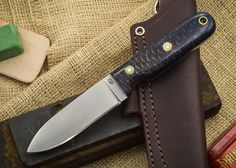 L.T. Wright Knives: Bushcrafter - Blue Pinecone - Flat Ground - A2 Steel $215