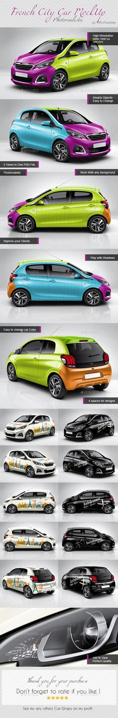 Photorealistic French City Car Mock-up, car mock up, wrapping, car wrapping, peugeot, 108, flocage, voiture, personnalisation, branding, brand, publicité, photoshop, PSD, illustrator