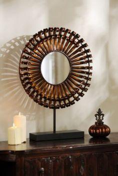Metal Bronze Starburst Mirror Statue: cut off base. $20