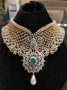Grand Diamond Choker Designs, Gold Diamond Choker Collections, Big Bridal Diamond Choker.