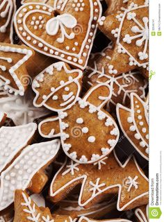 Gingerbread Christmas Close Up | Close-up of Christmas gingerbread cookies.
