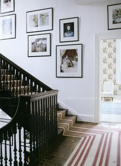 World of Interiors.... love it all: stripe runner // gallery // wallpaper in background