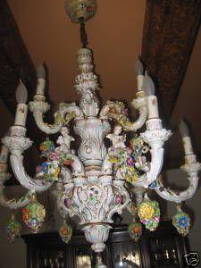 Antique Dresden Porcelain Chandelier