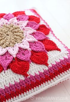 Gorgeous Crocodile Flower Cushion made by Lulu Loves - link to free Ravelry pattern