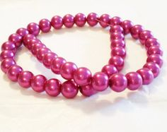 """10mm Beads, Fuchsia 10mm Round Glass Pearl Bead, 10mm glass Beads, 45 Pearls, Pink Pearls, Round Beads, Loose Pearls, 16"""" Strand of Pearls by vickysjewelrysupply. Explore more products on http://vickysjewelrysupply.etsy.com"""