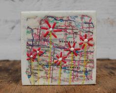Encaustic Mini Map Painting