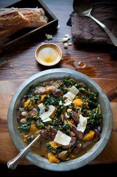 pumpkin and kale brothy soup..