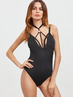 Bust(cm): XS:74cm, S:78cm, M:82cm, L:86cm Size Available: XS,S,M,L Thigh(cm): XS:56cm, S:58cm, M:60cm, L:62cm Hip Size(cm): XS:68cm, S:72cm, M:76cm, L:80cm Waist Size(cm): XS:58cm, S:62cm, M:66cm, L:70cm Length(cm): XS:72cm, S:73cm, M:74cm, L:75cm Style: Sexy Neckline: Strap Material: Polyester Sleeve Length: Sleeveless Color: Black Pattern Type: Plain Fabric: Fabric is very stretchy Season: Summer  Halter Top