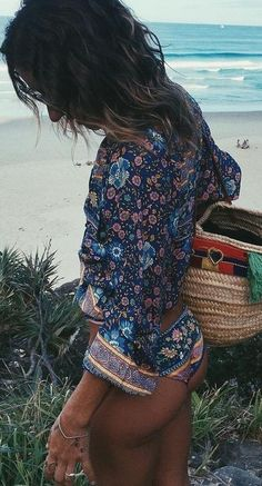 Folk Printed Blouse and Bikini Set                                                                             Source