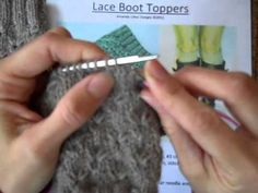 Knitting.  Simple boot topper tutorial. K1-long stitch