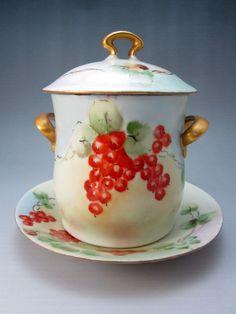 Antique c.1910 Austria Porcelain Condensed Milk Can Holder Jar Fruit Wehinger
