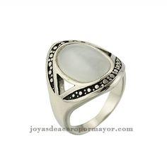 anillos de piedras naturales de acero inoxidable