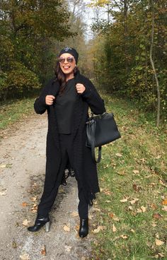 Black outfit with Dior shades and Fendi Bag