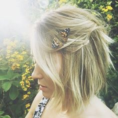Don't let a bob hold you back when styling. Lauren Conrad goes for a super-cute half-up half-down . . . butterfly optional!