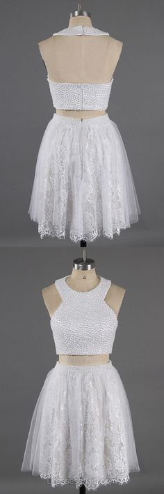 Scoop Neck Prom Dresses, Two Piece Formal Dresses, Lace Evening Dresses, Mini Homecoming Dresses, White Party Dresses