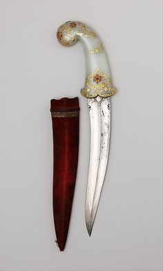 Dagger (Khanjar) with Sheath. Date: 18th–19th century. Culture: Indian. Medium: Wood, steel, coral, brass, silver.