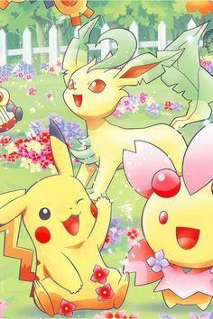 Pikachu, Cherrim and Leafeon.