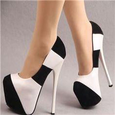 Moda Sexy Blanco   Negro Tacones altos zapatos de baile ... 414f955757ed