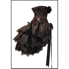 Gothic Exotica Black Bustle Skirt Lolita Cosplay Steampunk Couture... (110 CAD) ❤ liked on Polyvore featuring dresses, steampunk, skirts, corsets, beaded shrug, beaded capelet, lace shrug, lace capelet and vintage shrug