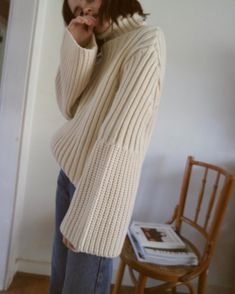 Ivory Bell Sleeve Turtleneck Sweater