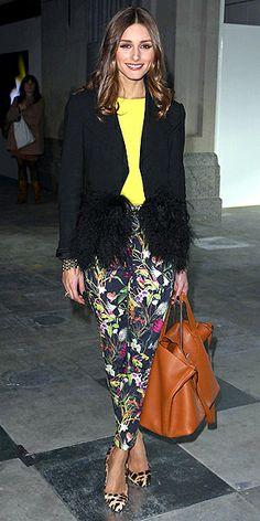 Jungle fever // floral cigarette pants + leopard-print pumps + ostrich-feather-trimmed tuxedo jacket? she dares, i die.