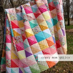 crazy mom quilts: distressed quilt top using half square triangles