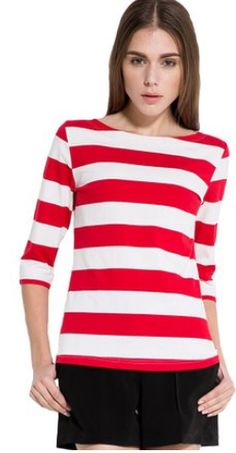Women's Spring Cotton Stripe Pattern T-Shirt