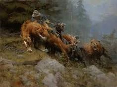 """Andy Thomas """"Grizzly Mountain"""" print of grizzly bear attacking a cowboy and his pack horses Westerns, Oil Painting Pictures, Hunting Art, West Art, Art Japonais, Cowboy Art, Le Far West, Mountain Man, Wildlife Art"""