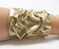 Brass Jewelry / Metal Cuff Bracelet--love the crumpled paper look